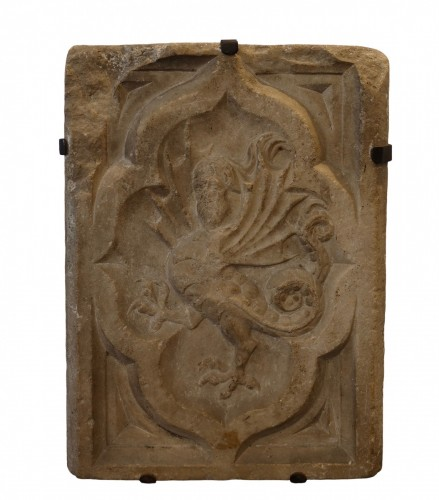 Marble relief depicting a wyvern- Lombardy, around 1380 - Sculpture Style Middle age
