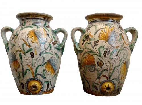 Pair of large Italian glazed terracotta Jars - Montelupo, around 1620-1630