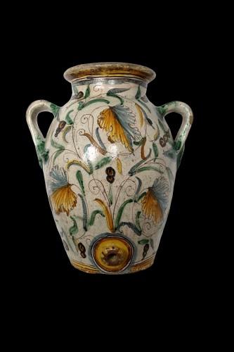 Pair of large Italian glazed terracotta Jars - Montelupo, around 1620-1630 - Porcelain & Faience Style Renaissance