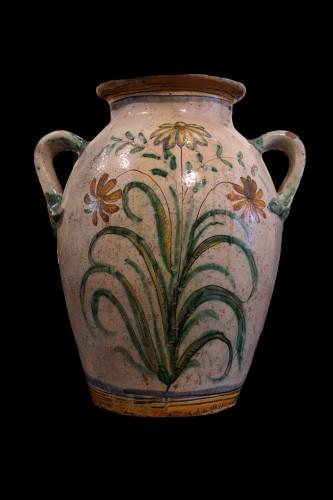 Pair of large Italian glazed terracotta Jars - Montelupo, around 1620-1630 -