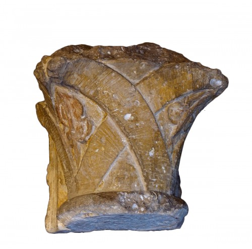 Limestone capital - France, Second half of 12th century