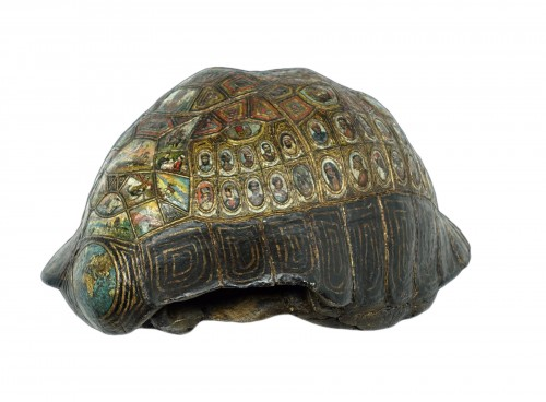 Painted and golden turtle shell