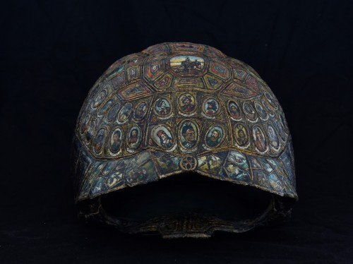 19th century - Painted and golden turtle shell