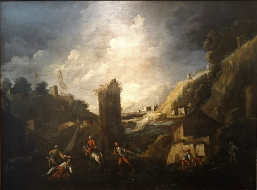 Antonio Travi called Le Sestri - Seascape with ruins - Genoa XVII century
