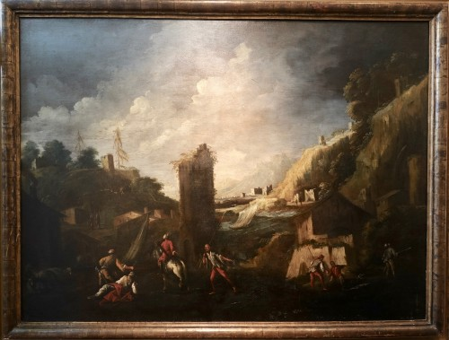 Antonio Travi called Le Sestri - Seascape with ruins - Genoa XVII century - Paintings & Drawings Style