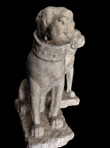 Rare pair of sitting mastiff dogs - Venice, 15th - 16th century - Sculpture Style Renaissance