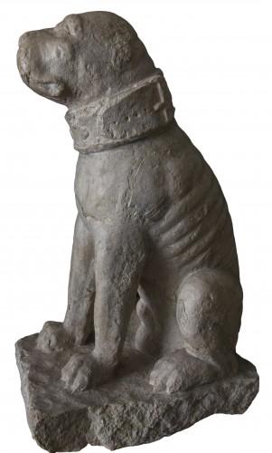 <= 16th century - Rare pair of sitting mastiff dogs - Venice, 15th - 16th century