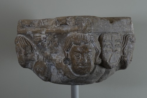 Capital with four heads and coats of arms - Ile de France, XIII siècle -