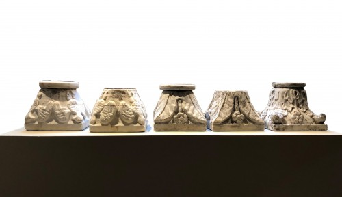 Collection of five small marble capitals - Italy, XVIII-XIX century