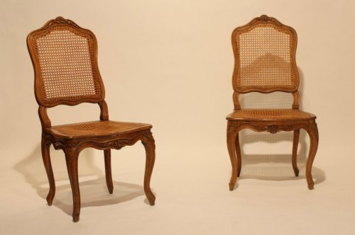 Pair of Louis XV caned chairs -