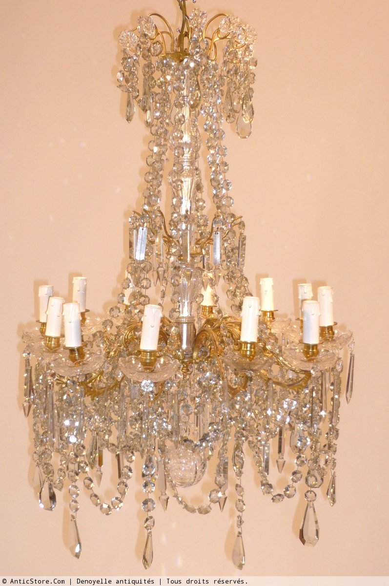 lustre cristal de baccarat circa 1900 xxe si cle. Black Bedroom Furniture Sets. Home Design Ideas