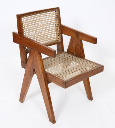 "Pierre JEANNERET (1896-1967) ""office cane chairs"""
