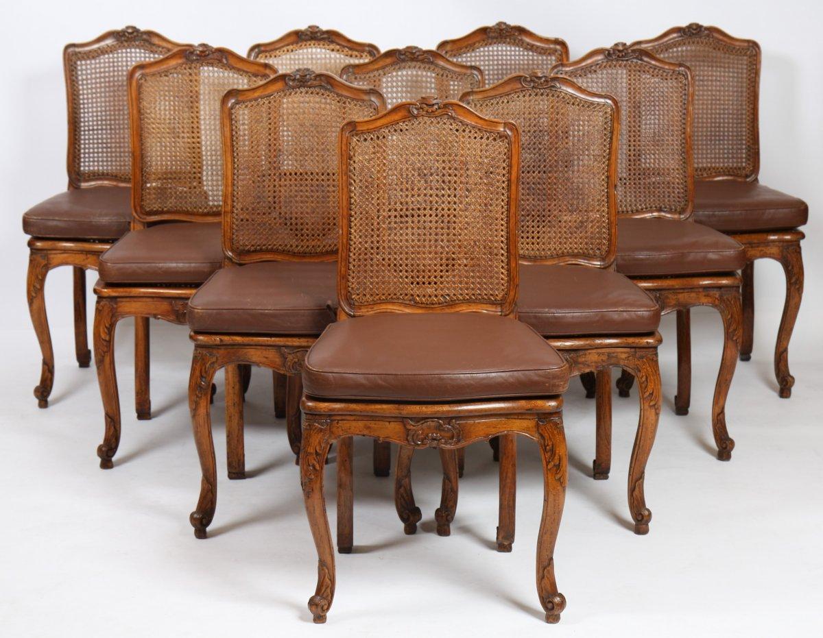 suite de dix chaises cann es d 39 poque louis xv xviiie si cle. Black Bedroom Furniture Sets. Home Design Ideas