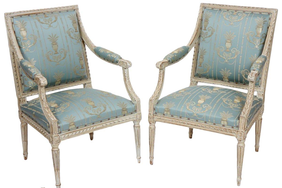 paire de fauteuils louis xvi trace d 39 estampille dupain. Black Bedroom Furniture Sets. Home Design Ideas