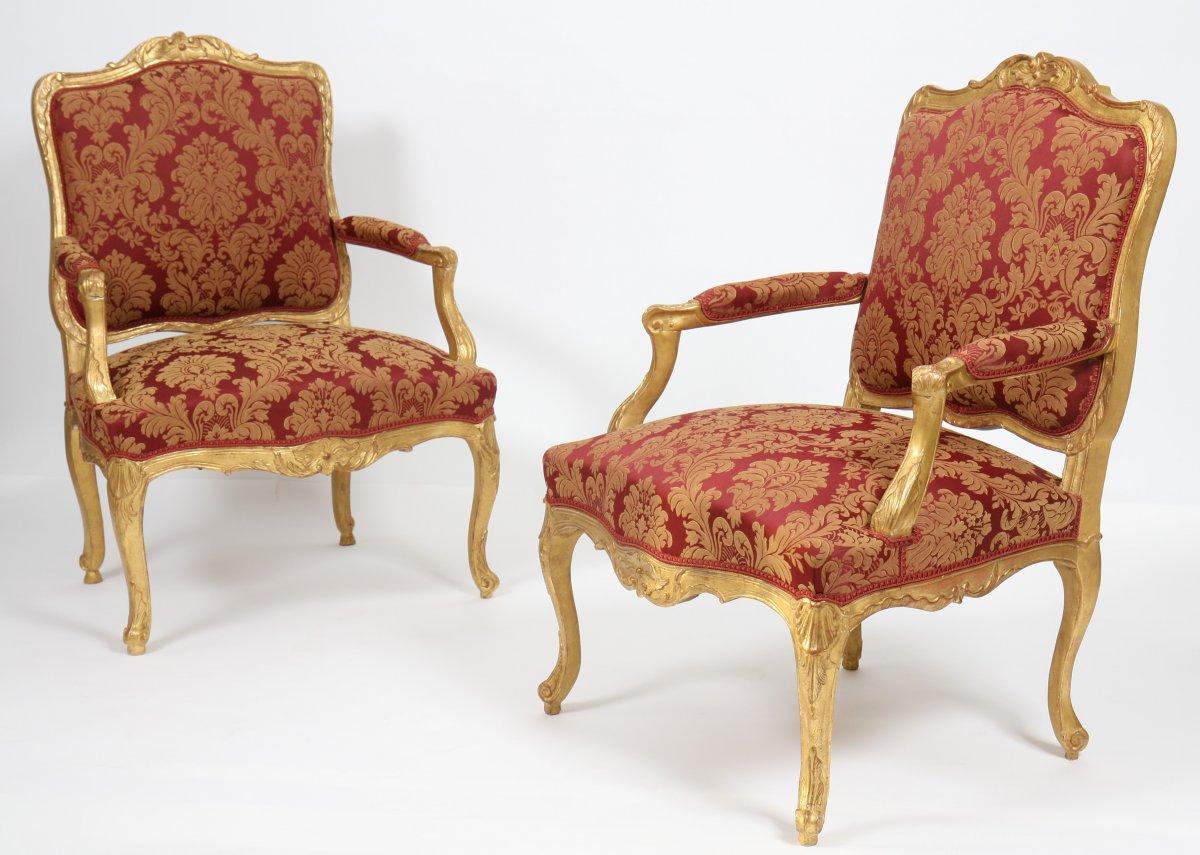 Pair De Fauteuils Louis XV En Bois Doré XVIIIe Siècle N - Fauteuil louis 15