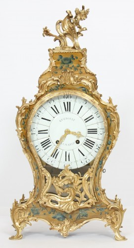 French Louis XV cartel in lacquered wood with yellow background - Clocks Style
