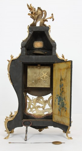 Clocks  - French Louis XV cartel in lacquered wood with yellow background