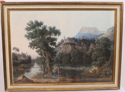 Pair of Italian gouaches - Jean-Baptiste POURCELLY (act. 1791-1802) - Paintings & Drawings Style