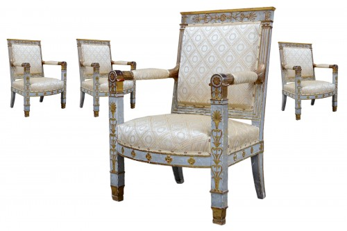 Ensemble de quatre fauteuils d'apparat Empire