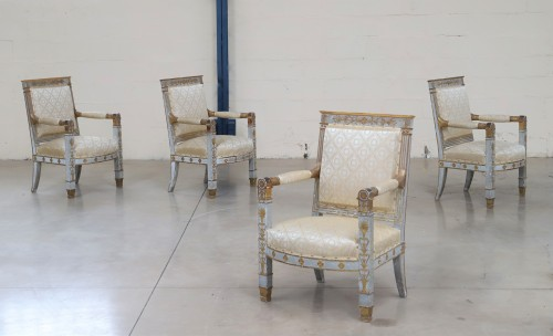 Seating  - Set of four ceremonial Empire armchairs