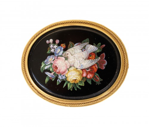 Napoleon III brooch in micro mosaic of hard stones