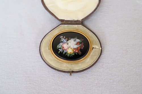 Napoleon III brooch in micro mosaic of hard stones - Antique Jewellery Style Napoléon III
