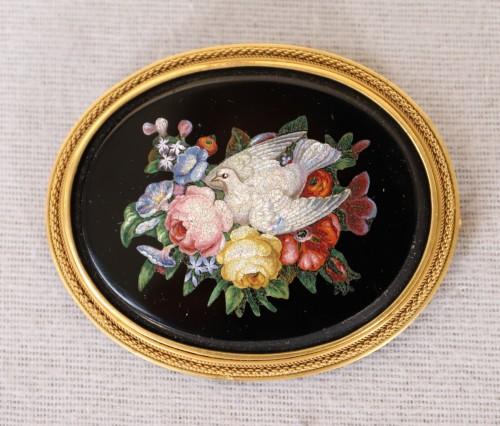 Napoleon III brooch in micro mosaic of hard stones -