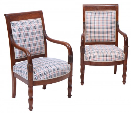 Pair of Burberry fabric armchairs