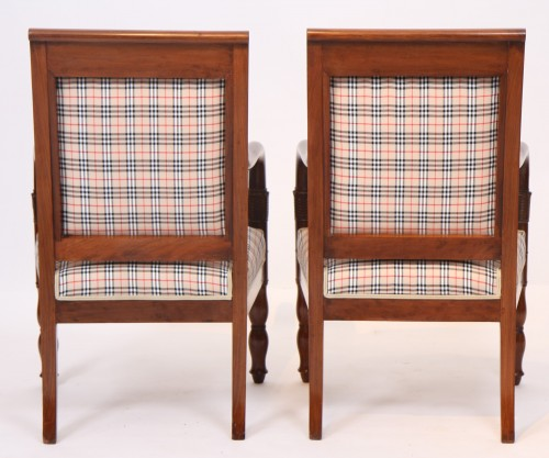 Pair of Burberry fabric armchairs - Seating Style Empire