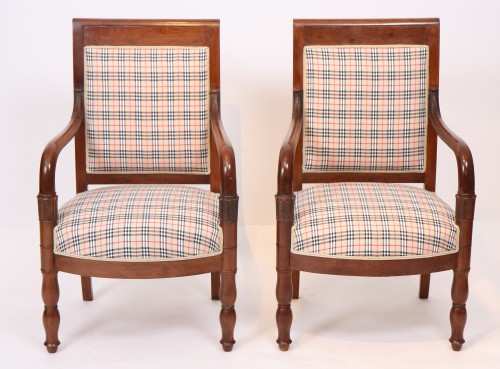 Seating  - Pair of Burberry fabric armchairs