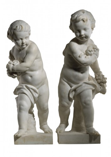Pair of Marble Putti