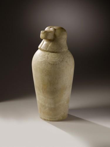 Alabaster Canopic Jar of Hapi, Egyptian, Late Period (XXVI-XXX Dyn  / 664 – - Ancient Art Style