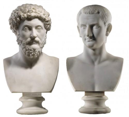 Pair of marble busts -  Marcus Aurelius & Domitianus