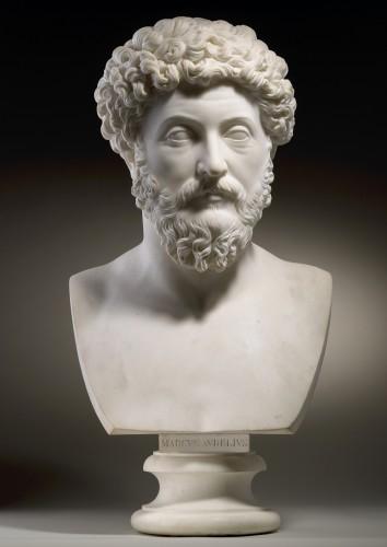 19th century - Pair of marble busts -  Marcus Aurelius & Domitianus