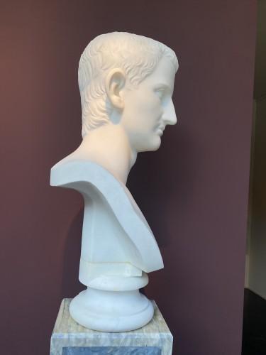 - Pair of marble busts -  Marcus Aurelius & Domitianus