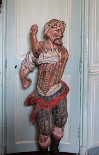 A late 17th early 18th century polychrome wood sculpture