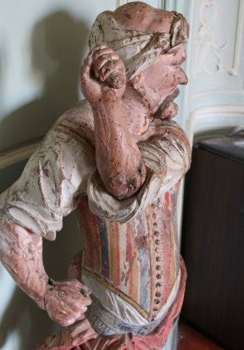 A late 17th early 18th century polychrome wood sculpture - Sculpture Style Louis XIV