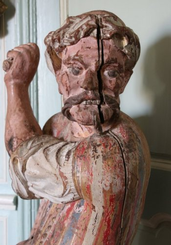18th century - A late 17th early 18th century polychrome wood sculpture
