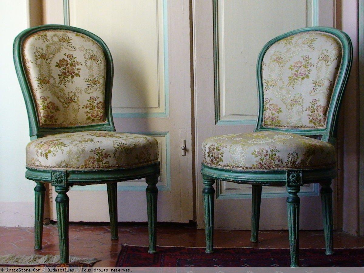 Paire De Chaises Dpoque Louis XVI