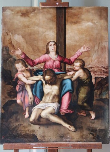 Religious painting, oil on wood panel XVIth century