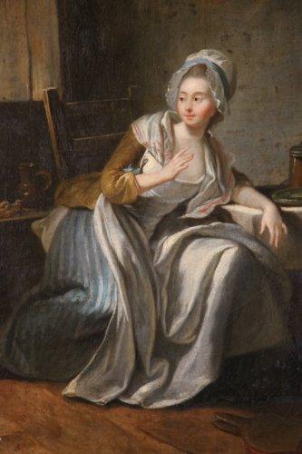 """""""Almsgiving"""" oil on canvas eighteenth century"""