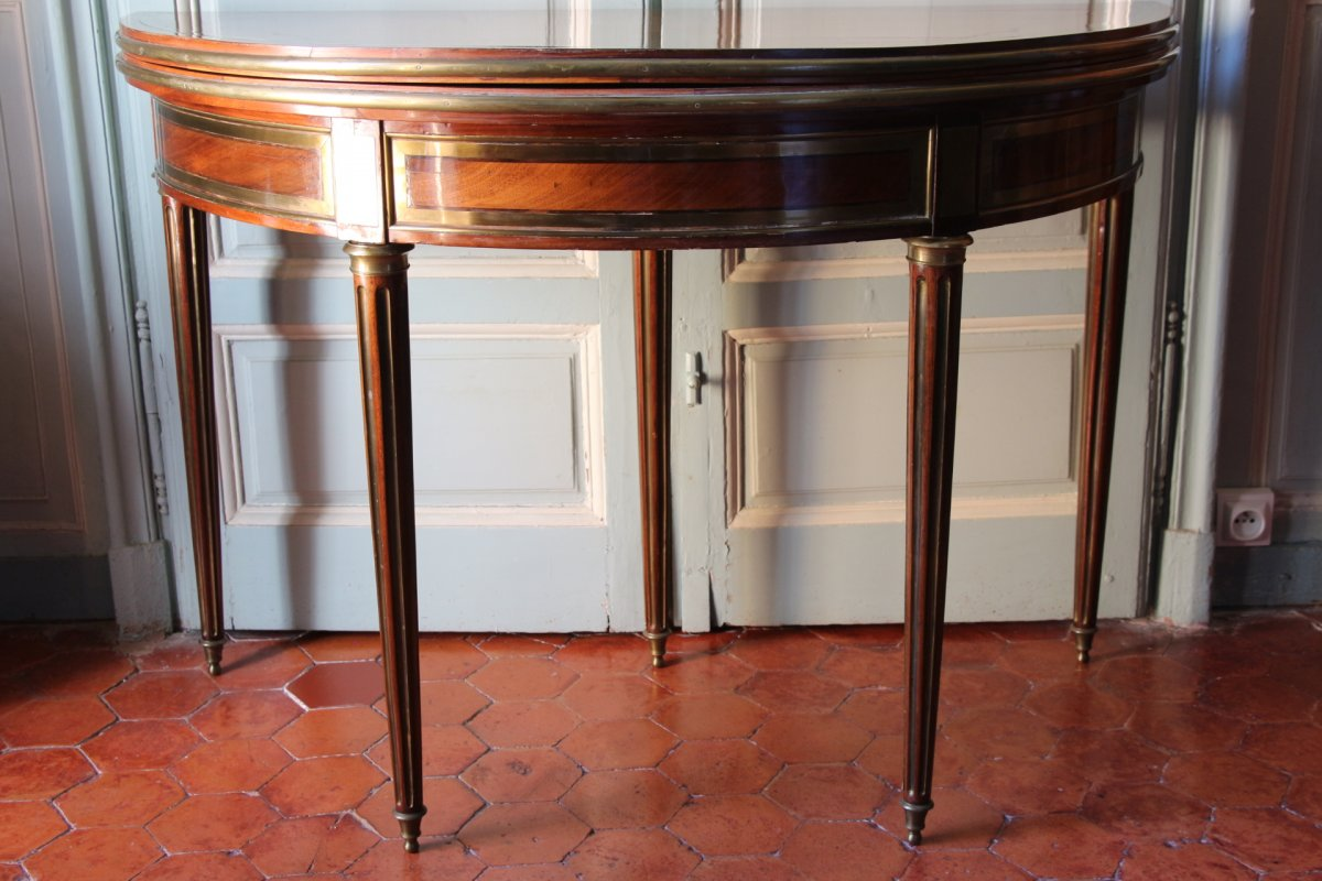 A French Louis XVI Half Moon Card Table