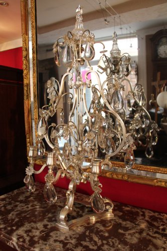 Important pair of silvered bronze girandoles XIXth century - Lighting Style Napoléon III