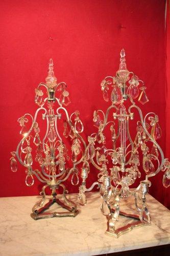 Important pair of silvered bronze girandoles XIXth century -