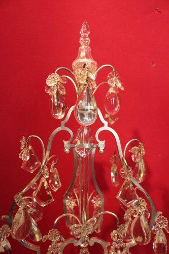 19th century - Important pair of silvered bronze girandoles XIXth century