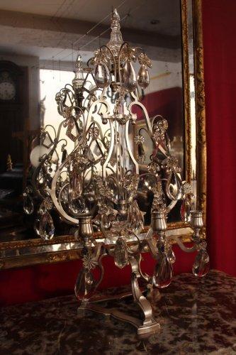 Antiquités - Important pair of silvered bronze girandoles XIXth century