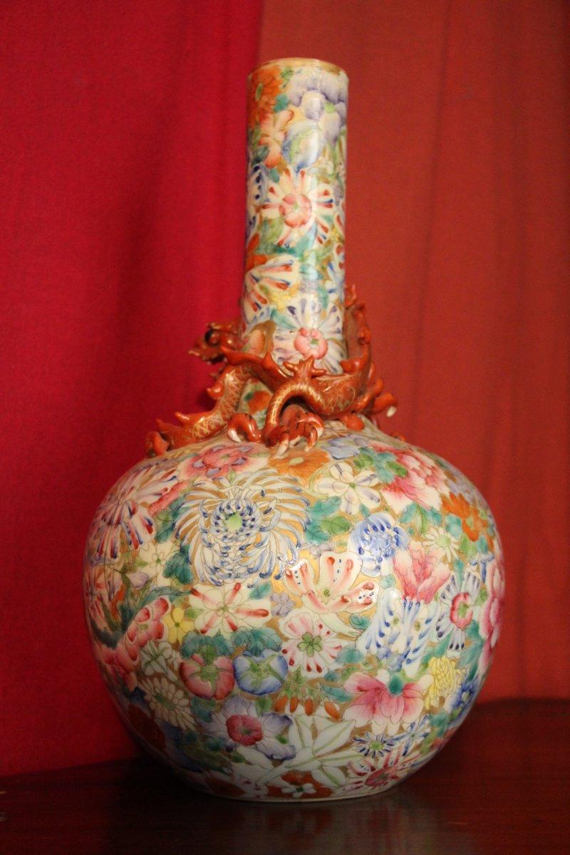 Vase En Porcelaine Aux Mille Fleurs Et Au Dragon Chine Xixe Si 232 Cle N 58506