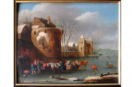 Snowy Landscape - Flemish school of the seventeenth century