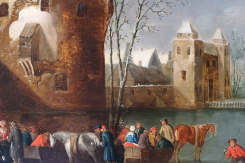 Antiquités - Snowy Landscape - Flemish school of the seventeenth century