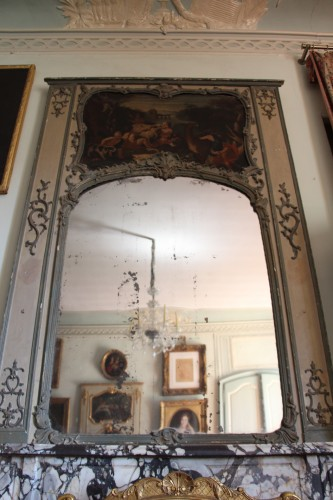 French Louis XV Light green lacquered trumeau - Mirrors, Trumeau Style Louis XV